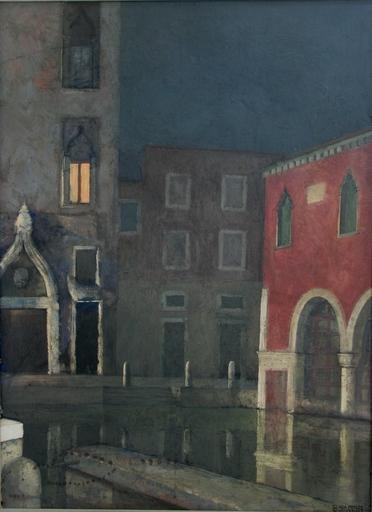 Bortolo SACCHI - Gemälde - Notturno veneziano