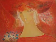 Claire ASTAIX - Grabado - Blonde au chapeau,1987.
