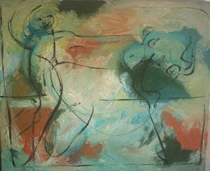 Bernard MOREL - Gemälde - Peintre et le Taureau