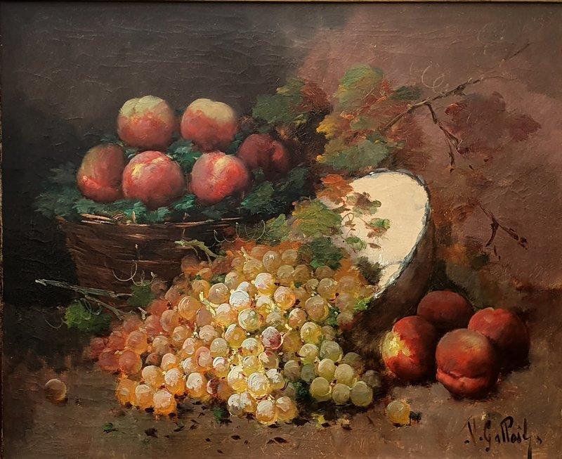 """Victor GALLOIT - Painting - NATURE MORTE AUX PÊCHES ET RAISINS"""""""
