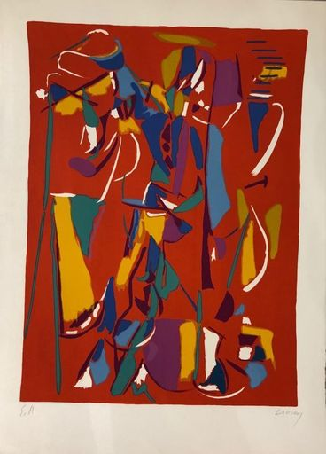 André LANSKOY - Estampe-Multiple - Composition fond rouge