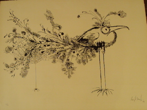 "Ronald SEARLE - Estampe-Multiple - ""Bird Spider""1966."