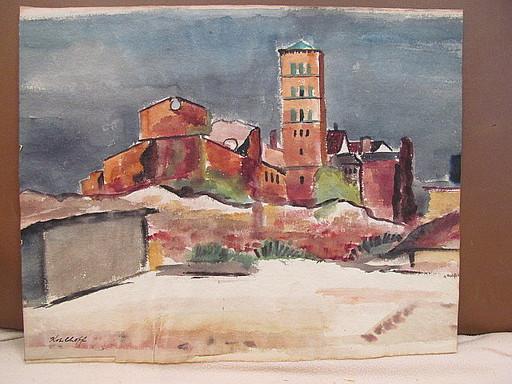 Walter KOHLHOFF - Disegno Acquarello - Kirche mit Häusern - St.Lukas, Berlin ?