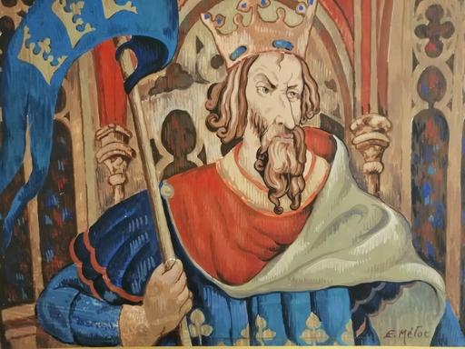 Edmond Amédée MELOT - Dibujo Acuarela - Le Roi