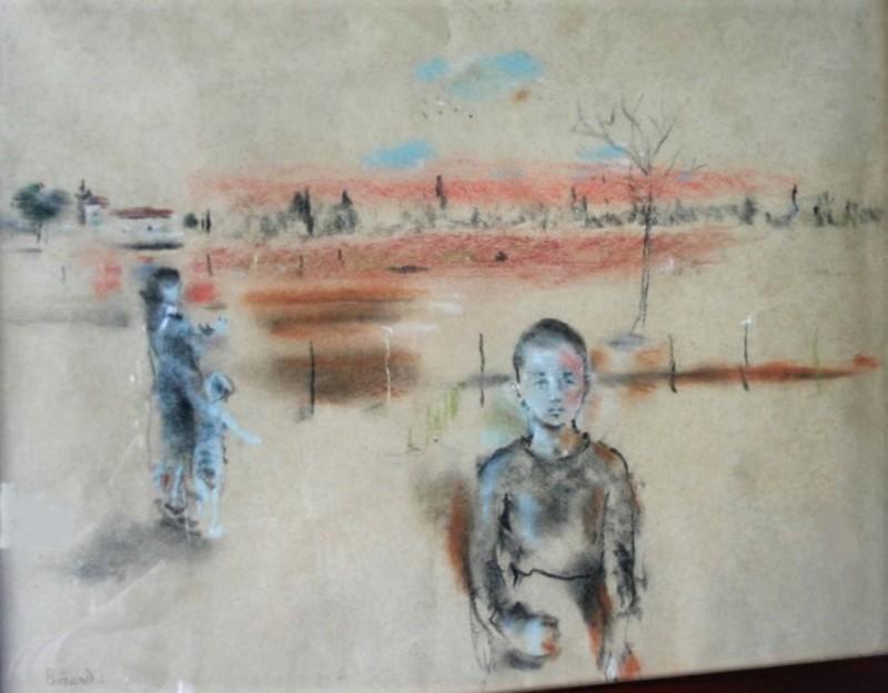 Christian Jacques BERARD - Dibujo Acuarela - l'enfant