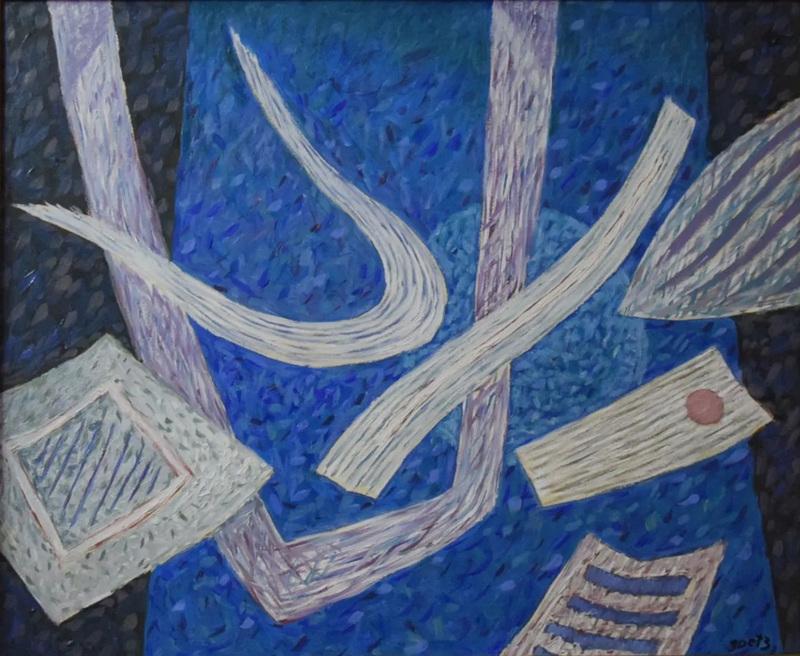Henri GOETZ - Painting - Composition en bleu