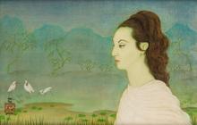 Trung Thu MAI - Dessin-Aquarelle - Jeune Européenne dans un jardin Japonais