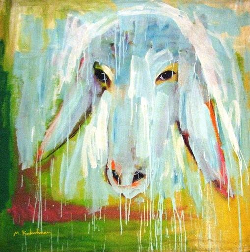 Menashe KADISHMAN - Painting - Sheep Portrait