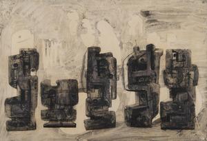 亨利•摩尔 - 水彩作品 - Five Square Forms in a Setting