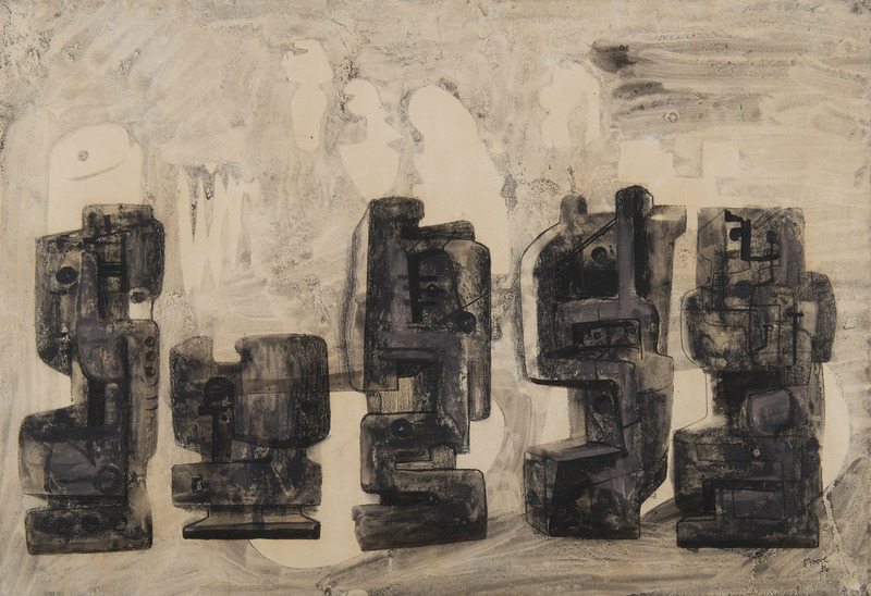 Henry MOORE - Zeichnung Aquarell - Five Square Forms in a Setting