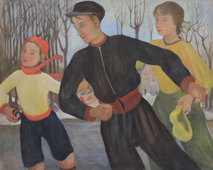 Orovida PISSARRO - Painting - Winter (The Skaters)