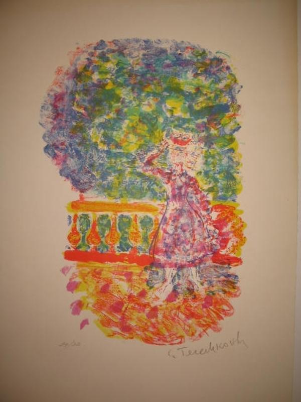 Constantin Andréevitch TERECHKOVITCH - Estampe-Multiple - La terrasse aux mimosas,1956.