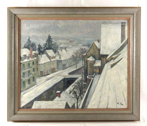 Albert THOMAS - Peinture - Strasse im Winter in Saverne