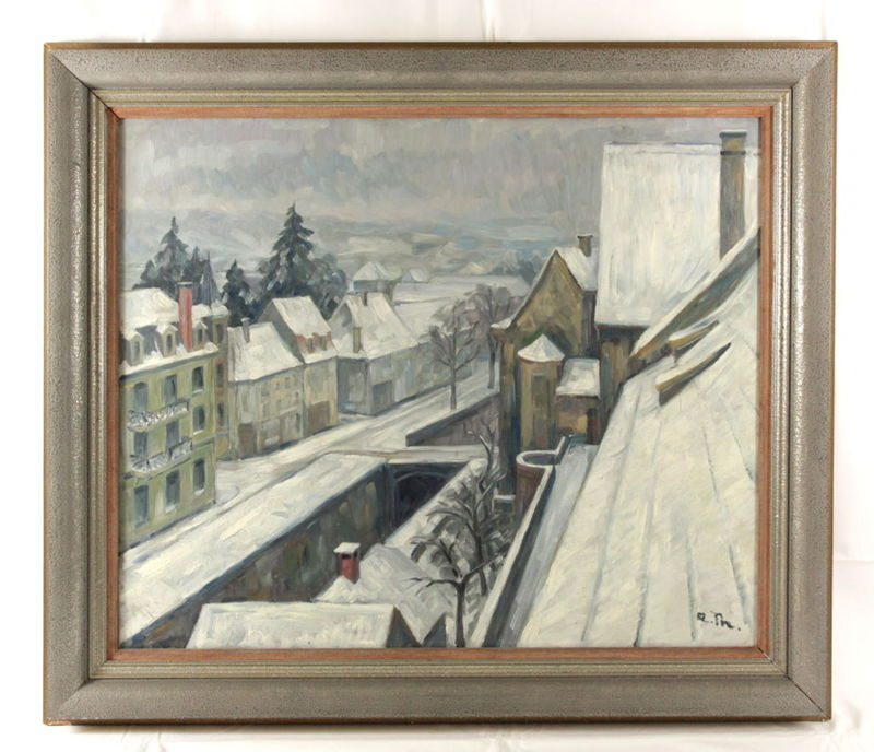 Albert THOMAS - Pintura - Strasse im Winter in Saverne
