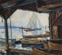 Otto Eduard PIPPEL - Painting - Bootshütte am Starnberger See