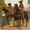 René Charles Edmond HIS - Painting - Soldats à Cheval