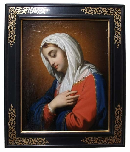"Carl Peter GOEBEL - Pintura - ""Holy Mary"", Oil on Canvas, early 19th century"