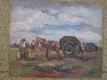 Pierre DE BELAY - Painting - RAMASSAGE DES GOEMONS 1930