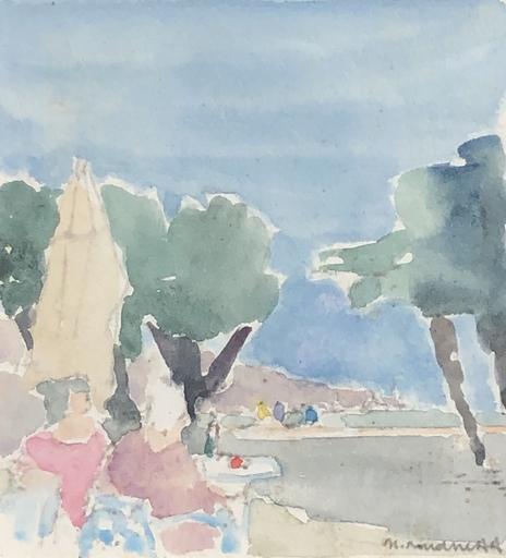 Georges ROUDNEFF - Disegno Acquarello - Déjeuner à la plage
