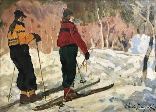 Alessio ISSUPOFF - Peinture - Sciatori