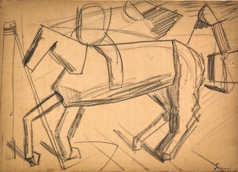 """Mario SIRONI - Dibujo Acuarela - """"Fantino a cavallo"""""""