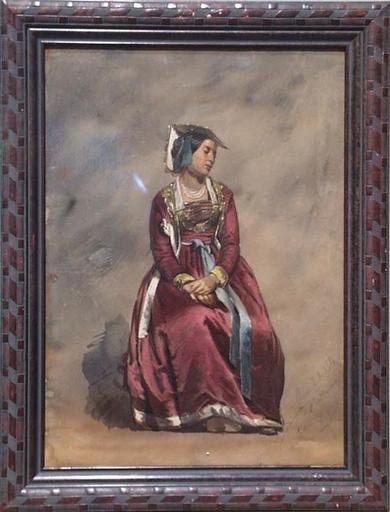 "Franz PITNER - Zeichnung Aquarell - ""Young Roman Woman"", Watercolour"