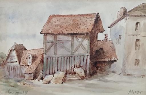 Alfred KELLER - Dibujo Acuarela - Troyes - tracé d'une rue - (KP32)