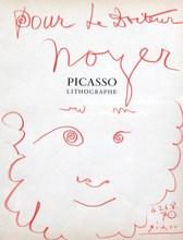 Pablo PICASSO - Drawing-Watercolor - Dédicace pour le Docteur Noyer