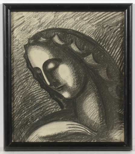 """Ferdinand OPITZ - Dibujo Acuarela - """"Holy Mary / Project for a sculpture"""" charcoal drawing, 1924"""