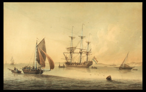 Samuel ATKINS - Disegno Acquarello - The fregat at  ancor off coast with other  shippings
