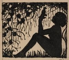 "Carl KRENEK - Dessin-Aquarelle - ""Singing Bird"" by Carl Krenek, ca 1900"
