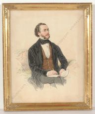 "Franz WOLF - Miniature - ""Portrait of a composer"", watercolor, 1865"