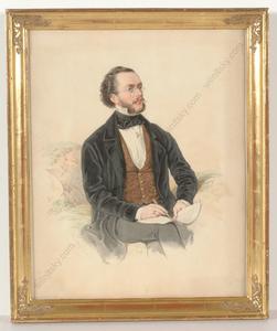 """Franz WOLF - Miniatur - """"Portrait of a composer"""", watercolor, 1865"""