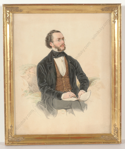 "Franz WOLF - Miniatura - ""Portrait of a composer"", watercolor, 1865"