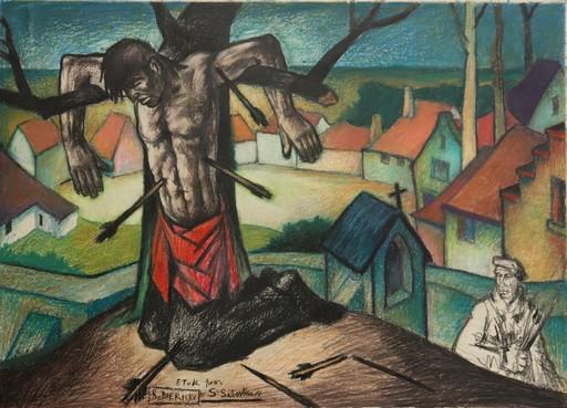 """Raymond DIERICKX - Drawing-Watercolor - """"ETUDE POUR SAINT SEBASTIEN"""""""