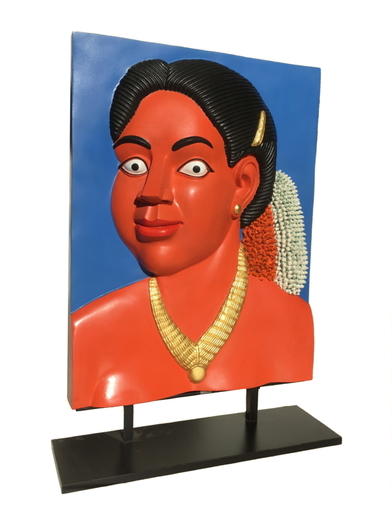 Ravinder REDDY - Sculpture-Volume - Portrait with golden necklace (version I)