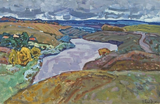 "Victor GAIDUK - Peinture - ""Ukrainian Riverscape"" by Viktor Gaiduk, ca 1970"