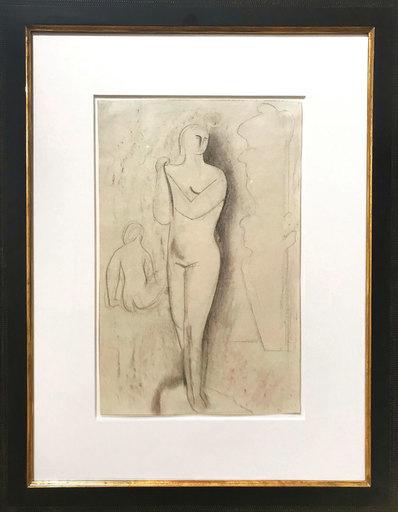 Willi BAUMEISTER - 水彩作品 - Stehende und sitzende Figur