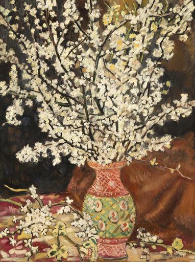 Louis VALTAT - Pittura - Bouquet de branches de cerisier