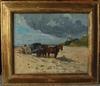 Émile BAUDOUX - Painting - ramasseur de sable sur une plage de Normandie