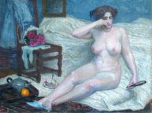"Roger GRILLON - Pintura - ""Le fard"" Nu - Femme"