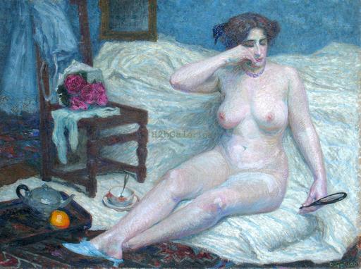 "Roger GRILLON - Gemälde - ""Le fard"" Nu - Femme"