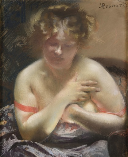 Albert BESNARD - Drawing-Watercolor - Une jeune femme en déshabillé