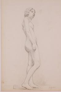 "Alonzo Myron KIMBALL - Disegno Acquarello - ""Female Nude"" by Alonzo Myron Kimball, late 19th Century"
