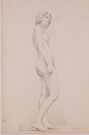 "Alonzo Myron KIMBALL - Zeichnung Aquarell - ""Female Nude"" by Alonzo Myron Kimball, late 19th Century"