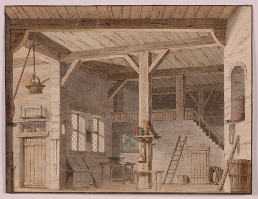 """Andreas HARDTER - Disegno Acquarello - """"Stage Design"""" by Andreas Hardter, ca 1800"""