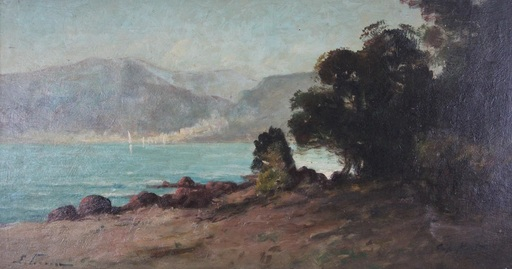 Émile FRIANT - Painting - Cap Martin landscape (on the Côte d´Azur)