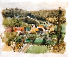 Gérard PASSET - Dibujo Acuarela - La Village