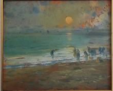 Eliseo MEIFRÉN ROIG - Pintura - MARISCANDO AL ANOCHECER