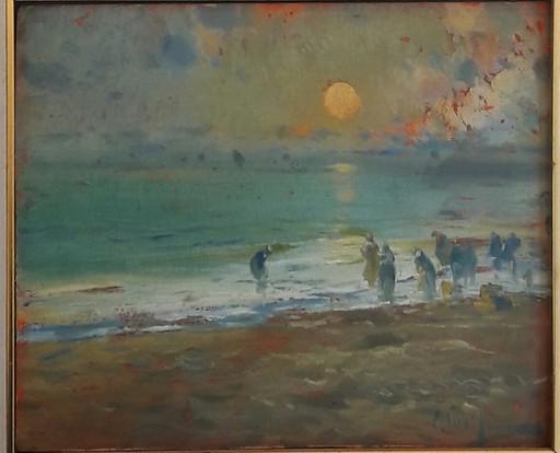 Eliseo MEIFRÉN ROIG - Gemälde - MARISCANDO AL ANOCHECER